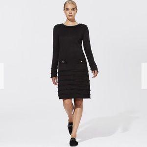 Karl Lagerfeld Black Fringe Sweater Dress XS Mini